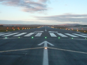 The airport runway